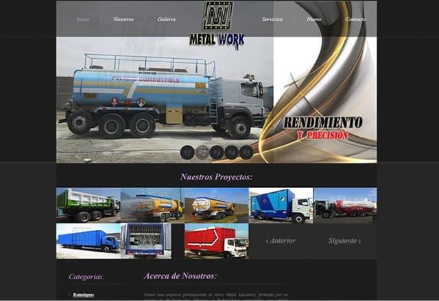 Pagina Web Estructuras Metal Work SAC, Trujillo, Peru