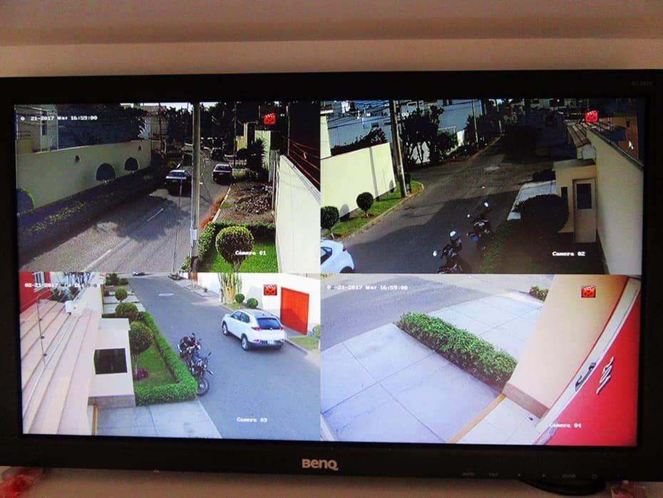 Prueba en el monitor de vistas de cámaras de seguridad