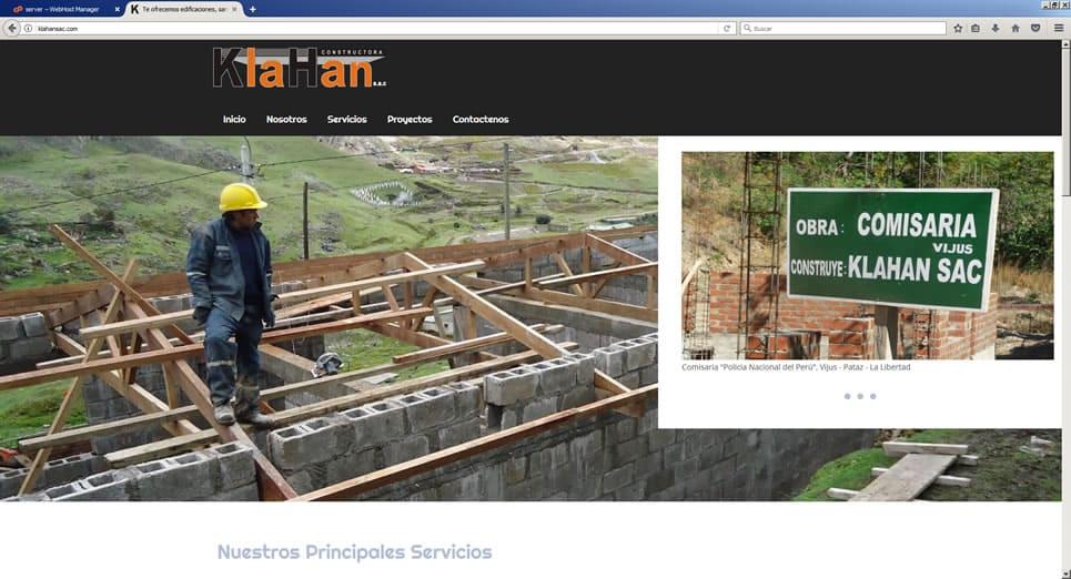 Pagina web Constructora Klahan SAC, Trujillo, Peru