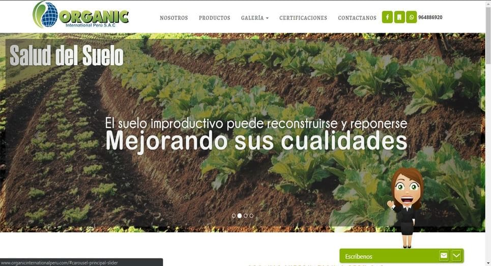Pagina web Organic International Peru SAC, Trujillo, Peru