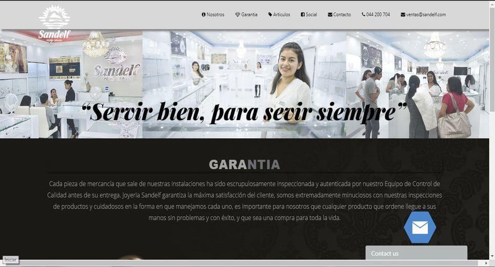 Pagina Web Joyería Sandelf, Trujillo, Peru