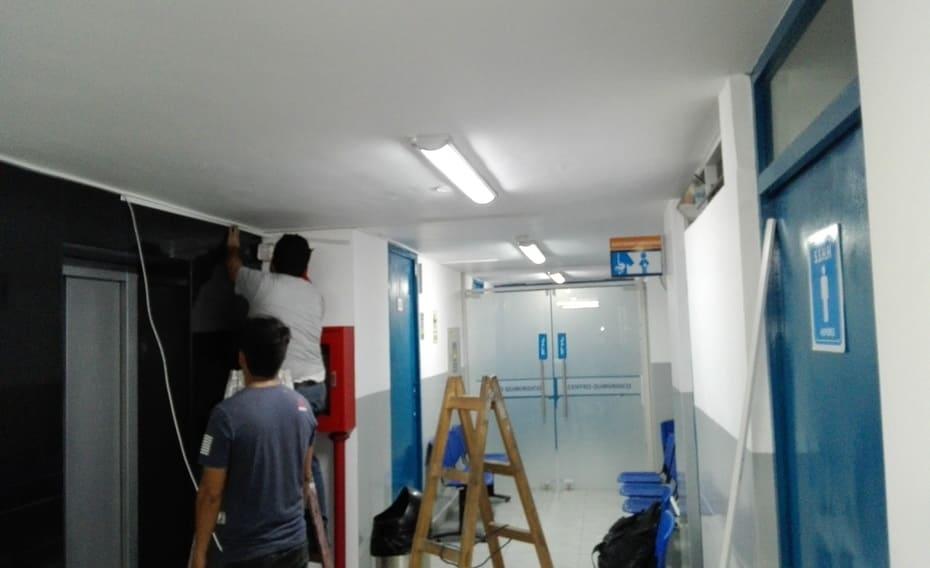 Cableado para la conexion de las camaras de seguridad del Hospital Primavera en Trujillo